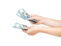 Money in the hand. (Hand with money, Hand holding Banknotes Royalty Free Illustration