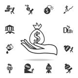 Money in hand icon. Detailed set of finance, banking and profit element icons. Premium quality graphic design. One of the collecti. On icons for websites, web Royalty Free Stock Image