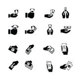 Money in the hand icons Stock Images