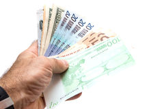 ,money in hand Stock Photos