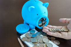 Money in Hand from saving in Piggy Bank Stock Photos