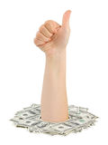 Money and hand thumb Royalty Free Stock Photo