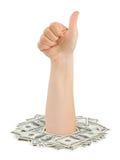 Money and hand thumb Royalty Free Stock Photo