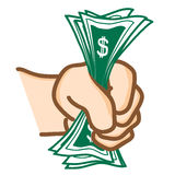 Money in hand Vector. Hand draw Money in hand Vector Royalty Free Stock Image