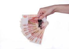 Money in hand. On white background Stock Image