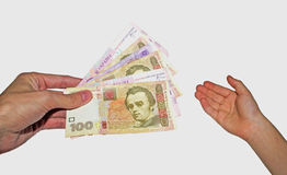 Money in hand. On white background isolated Stock Photo