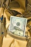 Money in the handbag Stock Photography