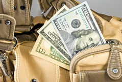 Money in the handbag Stock Image
