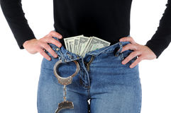 Money and handcuffs. Young woman with handcuffs and Euro-Money stock image