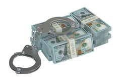 Money and handcuffs Royalty Free Stock Photo