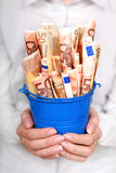Money in hands. Euro money in woman's hands. Financial concept Royalty Free Stock Photos