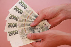 Money in hands. Czech cash. Money in hands Royalty Free Stock Photo