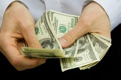 Money in the hands. American dollars in the hands Royalty Free Stock Photography