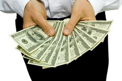 Money in the hands. The businessman holds money in hands Royalty Free Stock Images