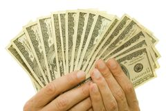 Money in hands Stock Photos