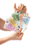 A money is in hands. Royalty Free Stock Images