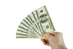 Money in hands. Isolated on white Royalty Free Stock Photography