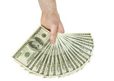 Money in hands. Isolated on white Stock Photos