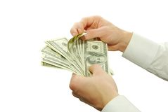 Money in hands Stock Image