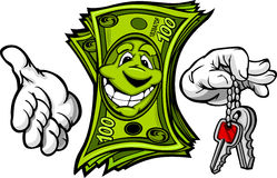 Money with Hands Holding Keys in Fingers. Cartoon Money and Hands with Car or House Keys Cartoon Image Royalty Free Stock Images