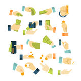 Money in Hands Icons Flat Style Set. Money in Hands Icons Flat Style Vector Set Stock Image