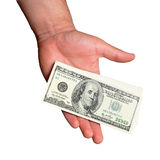 Money in hands. Isolated on a white Royalty Free Stock Image