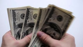 Money in the Hands. A man counts money in hands stock video footage