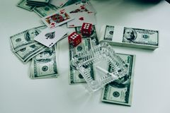 Money and hands of a young businessman. Success in the business. stock photos