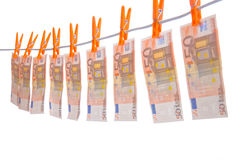 Money hanging on line Stock Photography