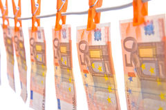 Money hanging on line Stock Images