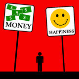 Money happiness. Choosing between money and happiness Royalty Free Stock Photography