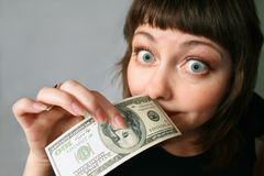 Money has no smell!. Woman with hand of money. Open one's eyes wide Stock Photography