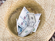 Money in hat. Money in a straw hat Royalty Free Stock Images