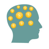 Money in Head Flat Business Concept Vector Illustration. EPS10 Royalty Free Stock Images