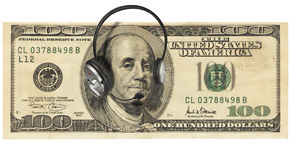 Money with Headphones stock photo