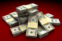 Money heap. 3d illustration of dollars heap over dark red background royalty free illustration