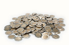 Money heap. A heap consisting of 2-Euro coins isolated on a white background royalty free stock photos