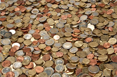 Money heap (close-up picture). A heap consisting of Euro coins isolated on a white background stock photo