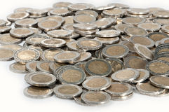Money heap (close-up picture). A heap consisting of 2-Euro coins isolated on a white background royalty free stock photo