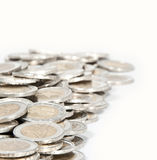 Money heap (close-up picture). A heap consisting of 2-Euro coins isolated on a white background royalty free stock photography