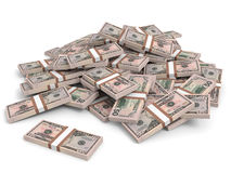 Money heap. Fifty dollars. Money heap on white background. Fifty dollars. 3D illustration Stock Photography