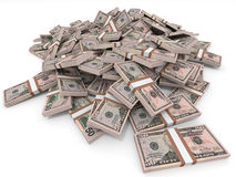 Money heap. Fifty dollars. Money heap on white background. Fifty dollars. 3D illustration Royalty Free Stock Photo