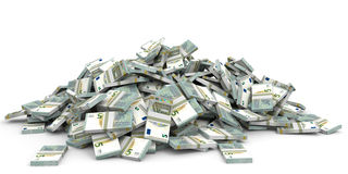 Money heap. Five euros. Royalty Free Stock Photography