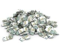 Money heap. Five euros. Stock Photos