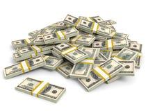 Money heap. One hundred dollars. Stock Photos