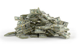 Money heap on white background. Stock Photo