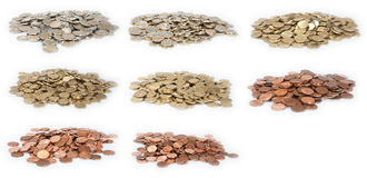 Money heaps (all Euro-coins) Royalty Free Stock Photography