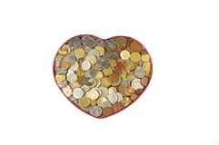 Money in heart Stock Image