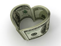 Money. Heart. On white background. 3d Stock Photo