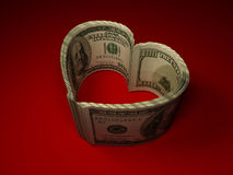 Money. Heart. On red background. 3d Vector Illustration